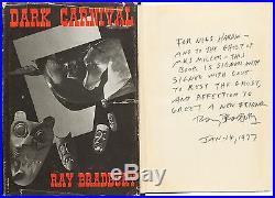DARK CARNIVAL SIGNED by RAY BRADBURY to Nils Hardin 1st Ed. Of 1st Book