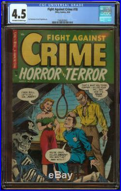 Fight Against Crime #18 CGC 4.5 OWithW Pgs Skeleton Hanging Cover GA Key Book