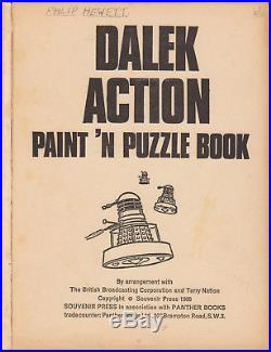 Giga-rare Dalek Action Paint n Puzzle Book, 1966. Doctor Who. % to charity do