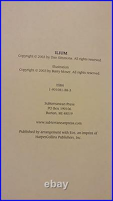 Ilium by Dan Simmons 2003 Signed Limited Edition Subterranean Press #680/724