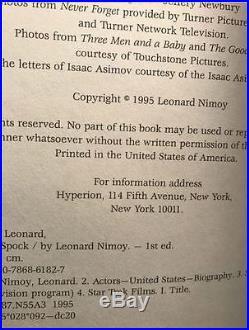 Leonard Nimoy Star Trek Original Series Book I Am Spock 1995 Signed