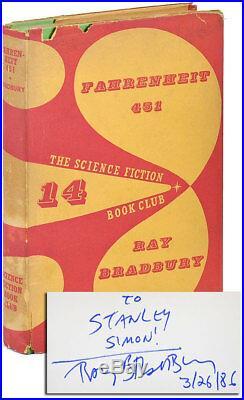 Ray Bradbury-FAHRENHEIT 451 (1955)-SCIENCE FICTION BOOK CLUB ED-INSCRIBED-NF/VG
