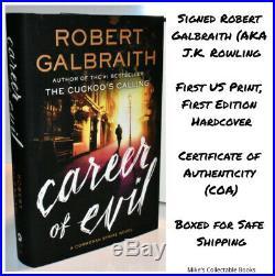 SIGNED 1/1 CAREER OF EVIL Robert Galbraith J. K. Rowling AUTOGRAPHED BOOK +COA HX