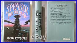 Signed 1st Ed SPEAKER FOR THE DEAD Orson Scott Card 1986 HC/DJ ENDERS GAME BOOK