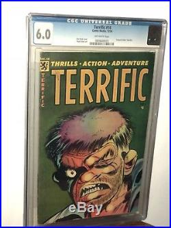 Terrific #14, golden age horror comic book, injury to the eye, pre-code, FN