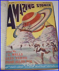 VINTAGE 1920s AMAZING STORIES MAGAZINES! 7 BOUND BOOKS! WELLS WAR OF THE WORLD