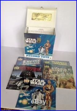 Vintage Mint 1982 Star Wars Record Tote & 5 Misp Read Along Book & Record Sets