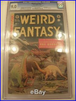 Weird Fantasy #17 1953 EC Comic Book CGC 9.0 SIGNED by Wally Wood Dinosaur Cover