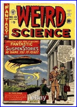 Weird Science #13 (#2) comic book 1950- Flying Saucers attack DC- Wally Wood VG